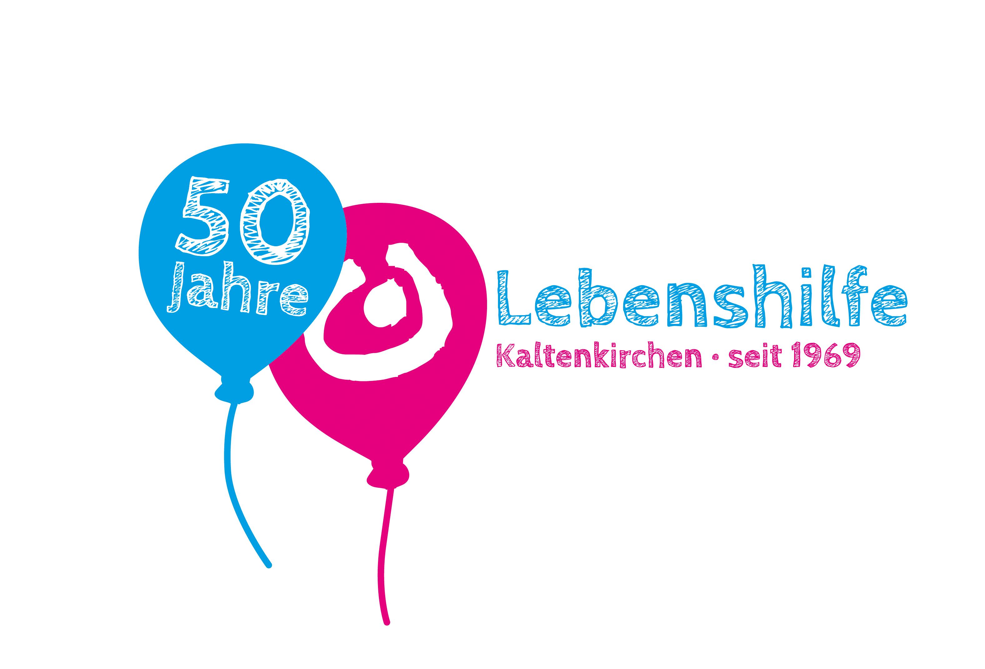 Das 50-Jahre-Logo der Lebenshilfe Kaltenkirchen vor weißem Hintergrund