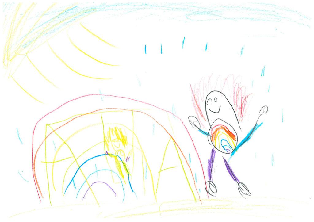 Eine Kinderzeichnung mit einem Kind auf einem Spielplatz, der Mama, der Sonne und blauem Himmel