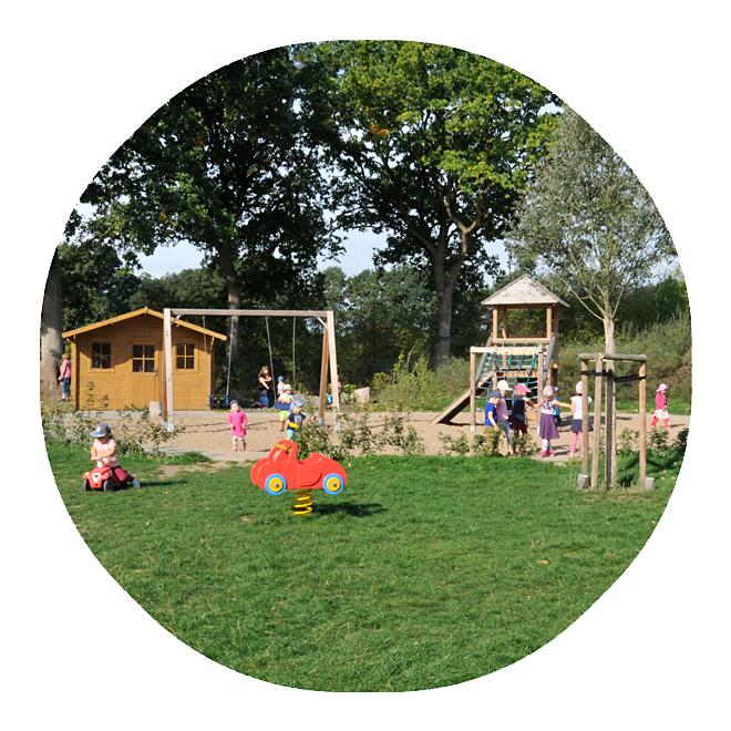 Das Außengelände der Kita Wiesenpark mit vielen spielenden Kindern bei schönem Wetter.
