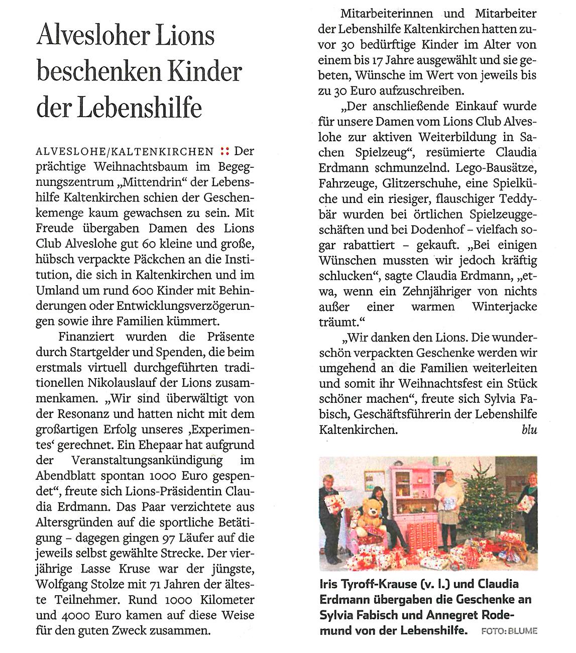 """Norderstedter Zeitung vom 12.12.2020: """"Alvesloher Lions beschenken Kinder der Lebenshilfe"""""""