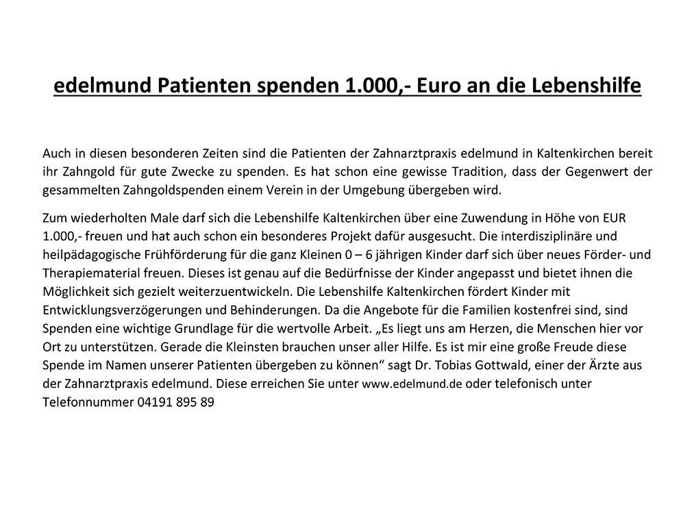 Spendenübergabe von edelmund Patienten an die Lebenshilfe Kaltenkirchen