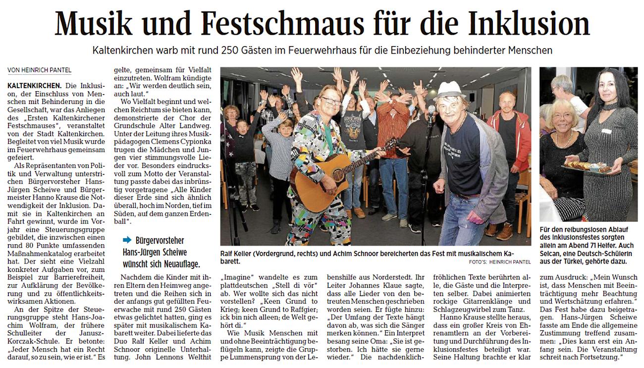 Ein Artikel aus der Segeberger Zeitung vom 11.11.2019: Musik und Festschmaus für die Inklusion