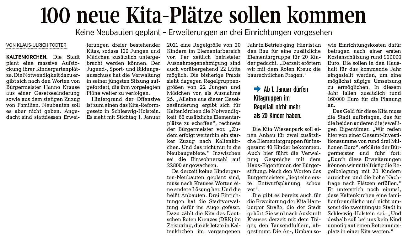 """Artikel aus der Segeberger Zeitung vom 9.10.2020: """"100 neue Kita-Plätze sollen kommen""""."""
