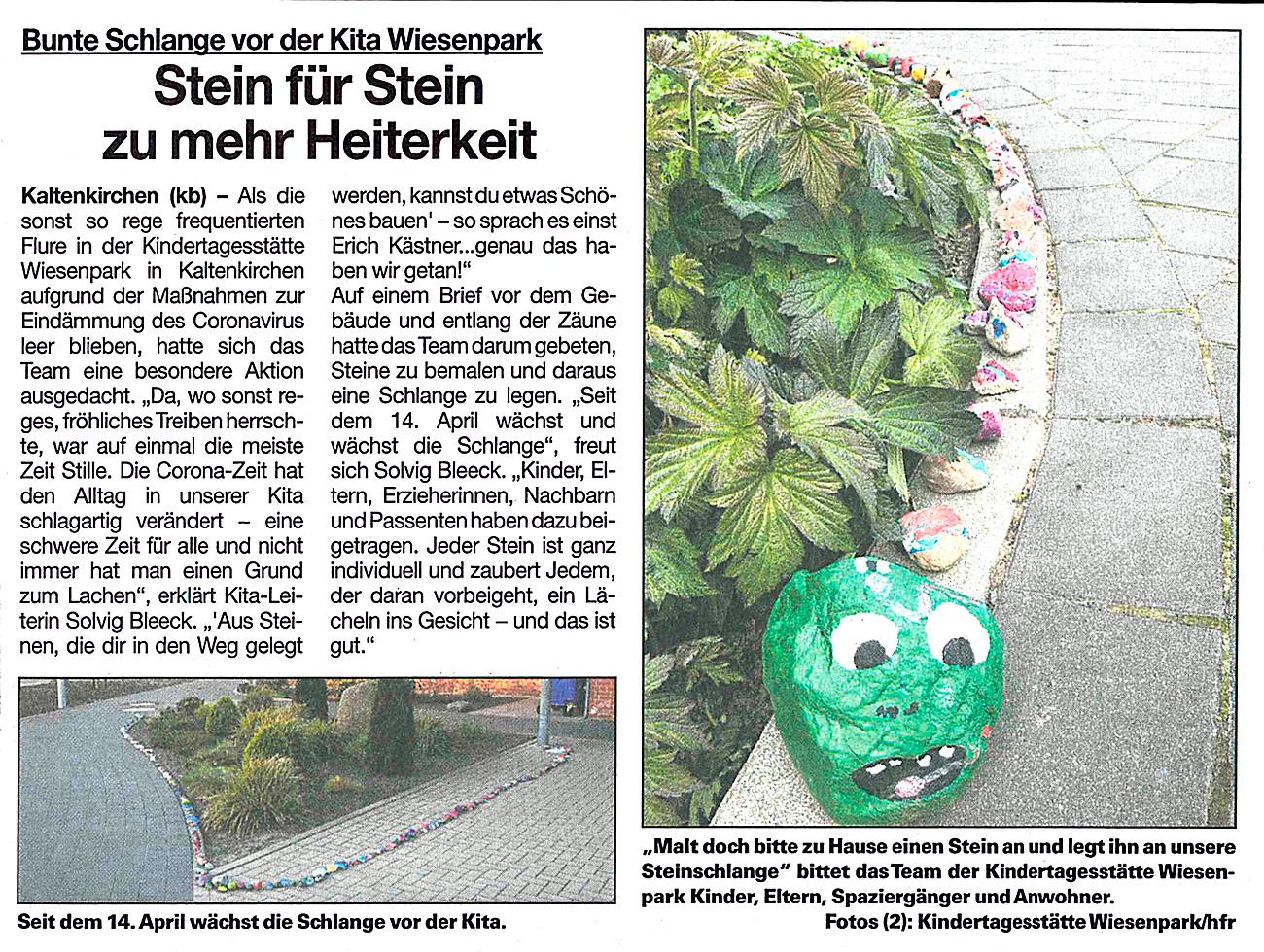 Ein Artikel aus der Umschau vom 20.5.2020: Stein für Stein zu mehr Heiterkeit. Darin geht es um die bunte Schlange vor der Kita Wiesenpark