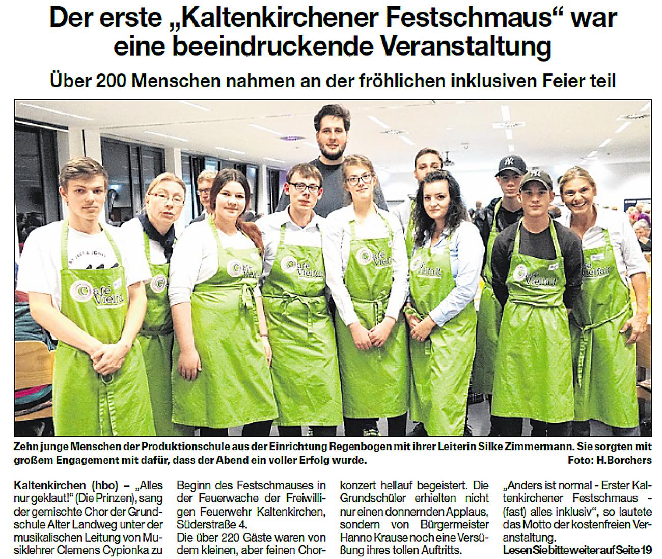 """Ein Artikel aus der Umschau vom 13.11.2019: Der erste """"Kaltenkirchener Festschmaus"""" war eine beeindruckende Veranstaltung"""