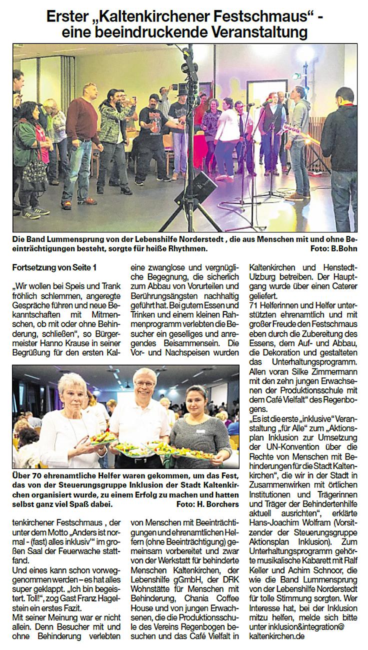 """Ein Artikel aus der Umschau vom 13.11.2019: Erster """"Kaltenkirchener Festschmaus"""" - eine beeindruckende Veranstaltung"""