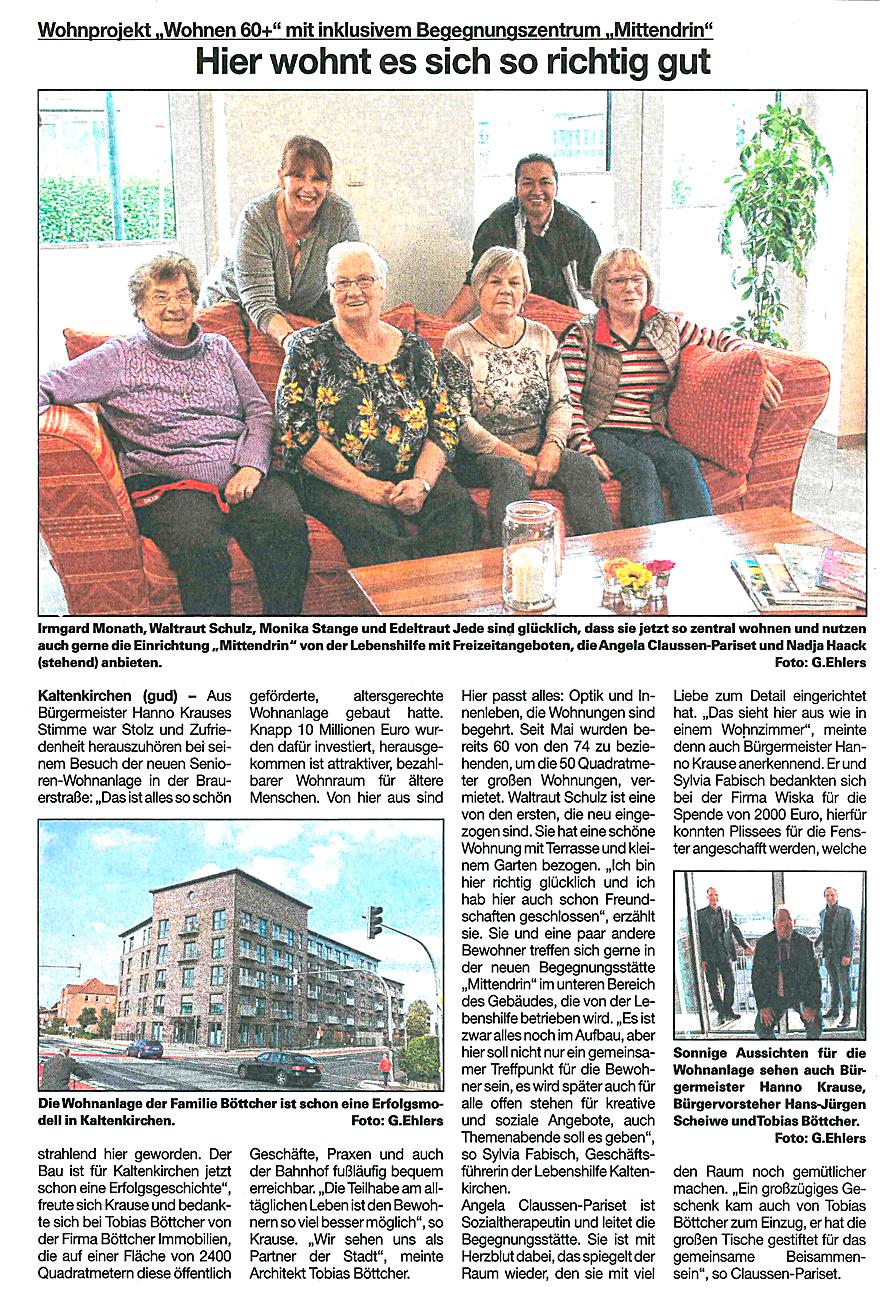 """Artikel in der Umschau vom 14.10.2020: Wohnprojekt """"Wohnen 60+"""" mit inklusive Begegnungszentrum """"Mittendrin"""" – Hier wohnt es sich so richtig gut."""