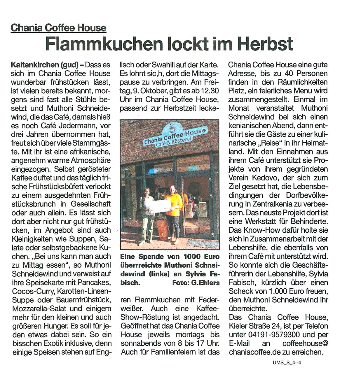 """Artikel aus der Umschau vom 7.10.2020: """"Chania Coffee House - Flammkuchen lockt im Herbst"""""""
