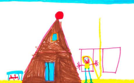 Kinderzeichnung mit Haus, Schaukel und Kind aus der Kita KinderZeit